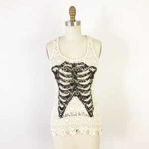 Lace Ribcage Tank Top Sheer Halloween Macabre F824